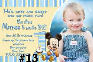 baby mickey mouse first birthday invitation by letspartyshoppe