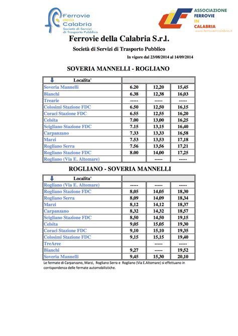 orari commercio e industria ferrovie in calabria ultime modifiche orari ferrovie