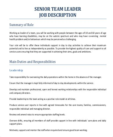team leader job description 24 gcdpo team leader