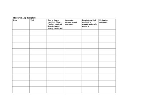 research log template research sle free documents for pdf