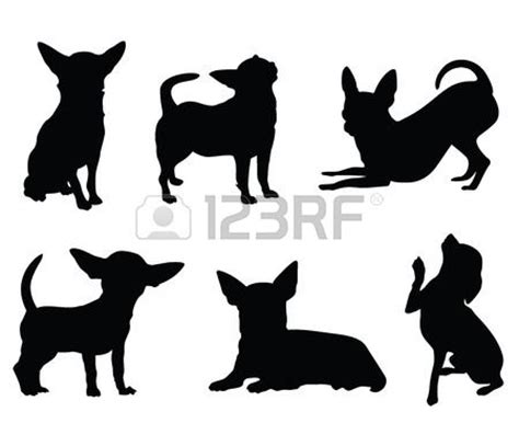 dog silhouette tattoo chihuahua hond illustratie set stockfoto 43118591
