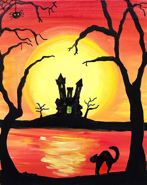 paint nite island pour house paint nite haunted house sunset