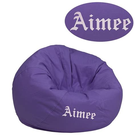 monogrammed bean bag chairs personalized small solid purple bean bag chair