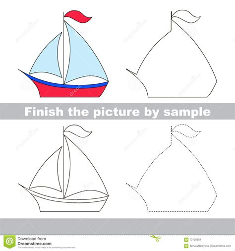 boat drawing cute boat drawing worksheet stock vector image of