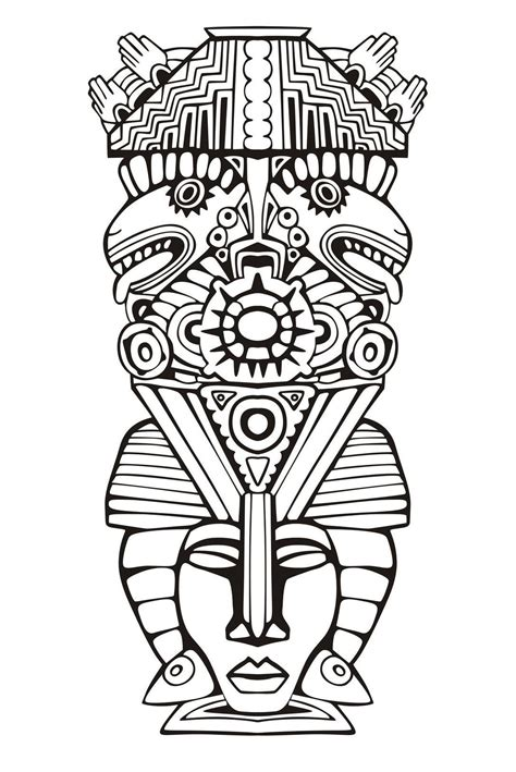 printable aztec mask adult coloring pages mayan mask 1 adult coloring pages