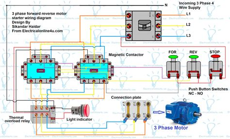 forward 3 phase motor wiring diagram free