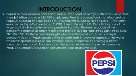 introduction of pepsi slideshare pepsi vs coca cola