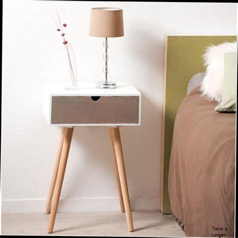 table basse scandinave pas cher table de chevet avec 1 tiroir en mdf blanc et pin 40x30x61cm