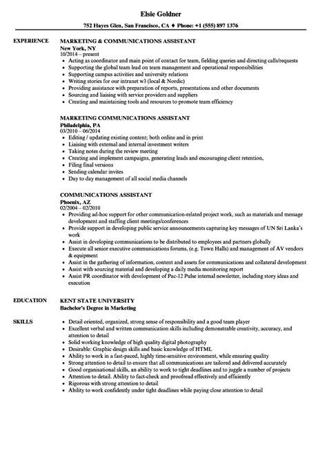 Communications Assistant Sle Resume by Communications Assistant Resume Sles Velvet