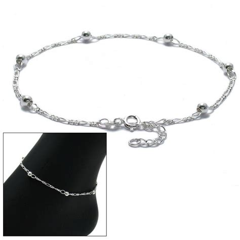 10 Sterling Silver Ankle Bracelets - 925 sterling silver 9 quot 10 quot adjustable figaro beaded ankle