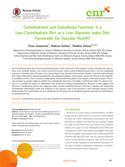carbohydrates with a low glycemic index carbohydrates and endothelial function is a low