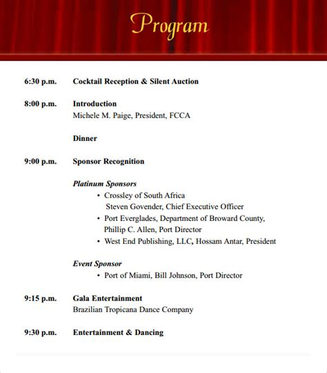 Event Program Template by 38 Event Program Templates Pdf Sle Templates