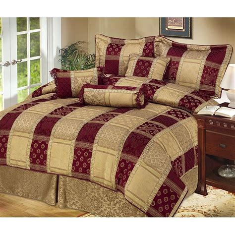 hton 7 piece burgundy gold comforter set