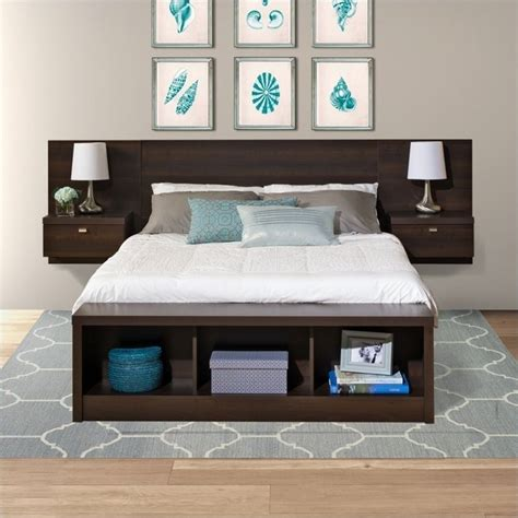 Beds With Headboard Storage Prepac Series 9 Platform Storage W Floating Headboard Espresso Bed Ebay