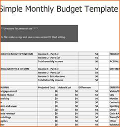 simple monthly budget template simple budget spreadsheet template