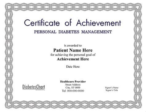 weight loss certificate template personal diabetes management certificate of achievement