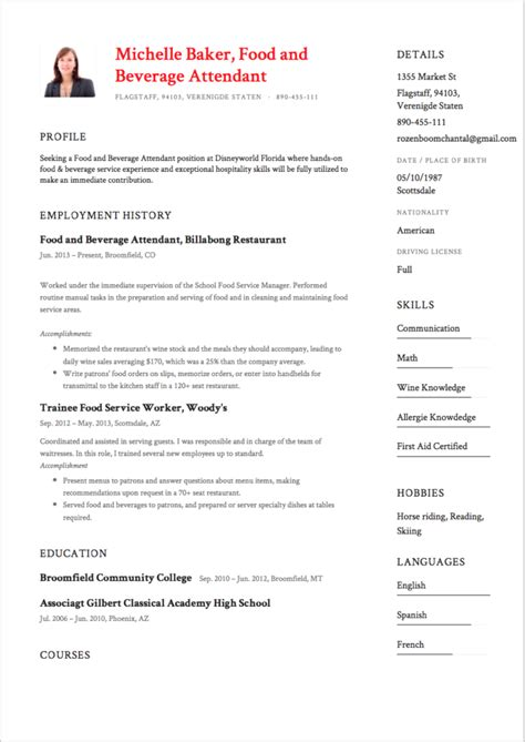 Food And Beverage Attendant Cover Letter by 7 Food And Beverage Attendant Resume Sles College Graduate Resume Tips Bestsellerbookdb