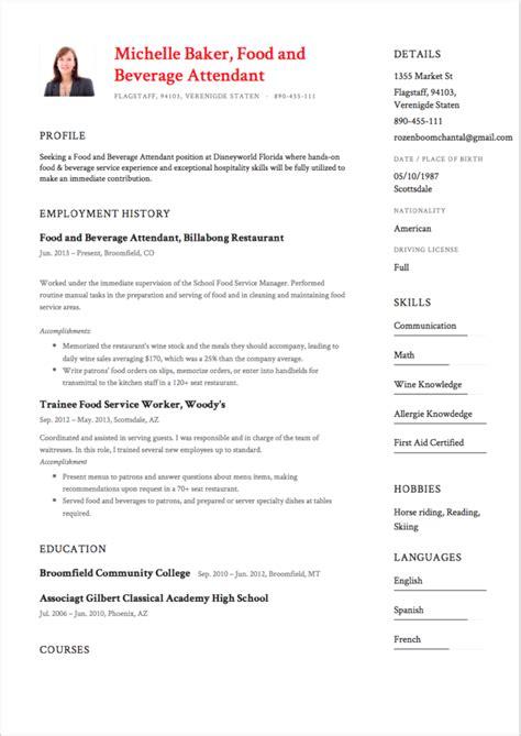 Sle Resume For Food And Beverage Supervisor food and beverage resume templates 28 images resume sles food and beverage server resume sle