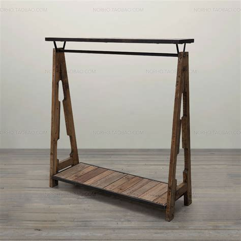 special combination of retro clothing racks wrought iron wood shelf display rack clothing