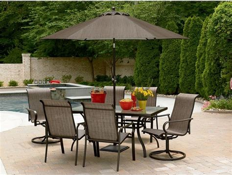 Patio Set With Umbrella Sale East Point Seven Outdoor Dining Set Contemporary Outdoor Dining Sets By Sears