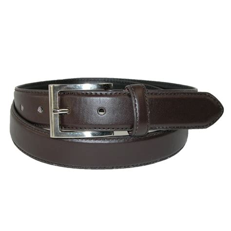 mens leather 1 1 4 inch basic dress belt with silver