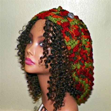 items similar to slouchy womens green brown slouchy hat womens crochet hippie color