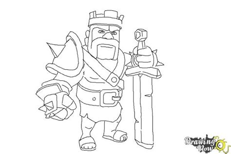 barbarian king coloring pages how to draw clash of clans barbarian king drawingnow