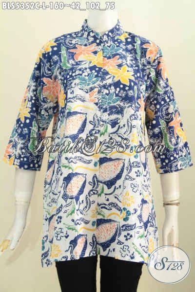 Baju Wanita Karir Berjilbab produk baju batik untuk wanita karir busana blus batik kerah shanghai motif terkini proses cap