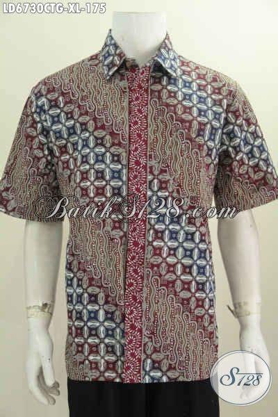 Baju Batik Pria Cap Tulis Size Xl Ct3586ld baju hem keren motif mewah proses cap tulis soga pakaian batik lengan pendek masa kini untuk
