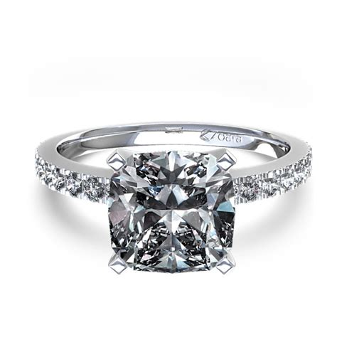 cusion cut cushion cut diamond engagement ring in 14k white gold