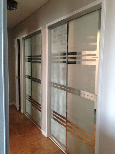 Adhesive Mirrors For Wardrobe Doors - used blue and frosted spray to create more modern
