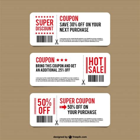 coupon card template discount coupon templates vector free