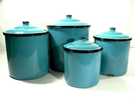 turquoise kitchen canisters enamel storage canister set retro kitchen turquoise blue