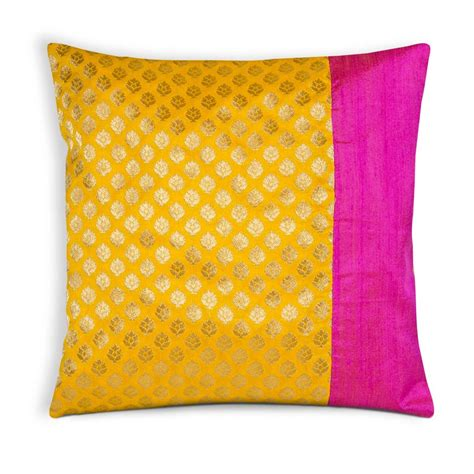Pink Silk Pillows by Pink And Yellow Brocade Silk Pillow Cover