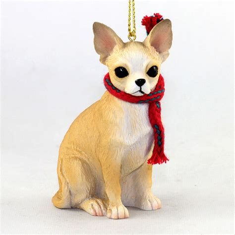 chihuahua dog christmas ornament scarf figurine tan ebay