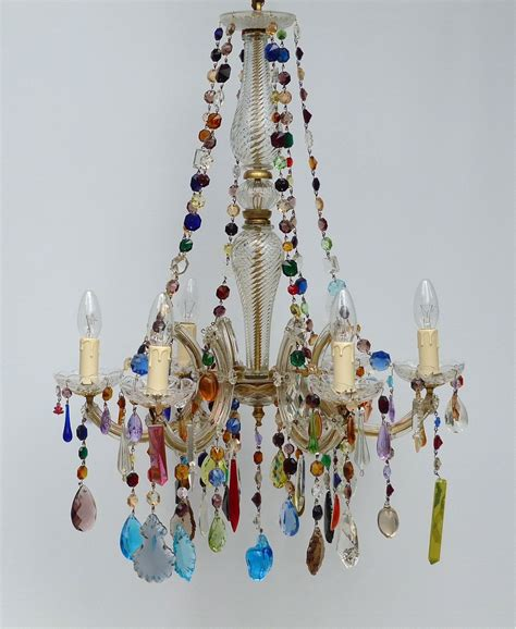the vintage chandelier 5 arm therese with coloured drops 3 the vintage
