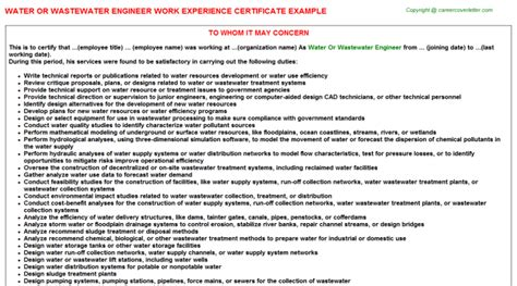Work Experience Letter For Network Engineer water or wastewater engineer work experience certificate