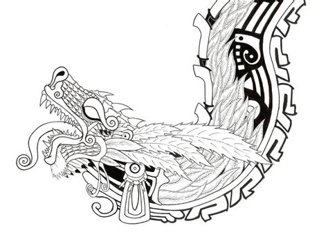aztec dragon design for the top of the wood file cabinet