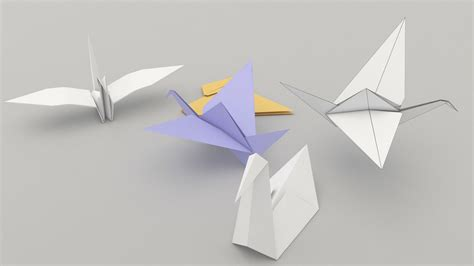 Model Origami - origami birds 3d model fbx cgtrader