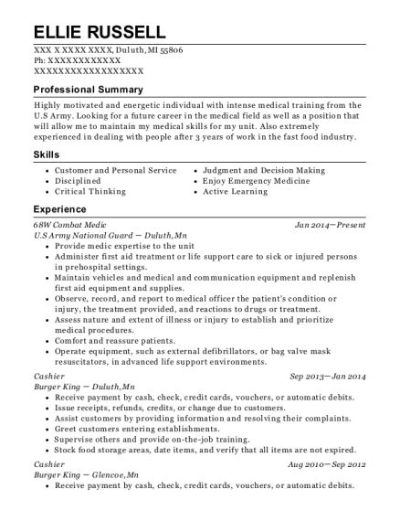 68w Resume by Us Army 68w Combat Medic Resume Sle