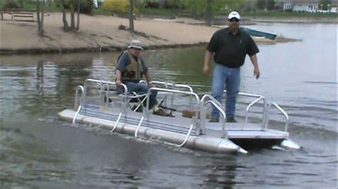 hotwoods pontoon boats hotwoods fish n sport 510 pontoon boat youtube