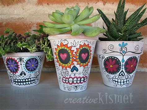 amazing Dia De Los Muertos Home Decor #3: day-of-the-dead-planters.jpg