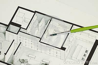 3d floor plan stock illustration image of design single green brush set on real estate floor plan