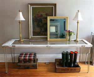glass entryway tables entryway table from glass paned door diy recycled