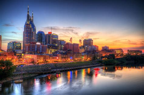 nashville tennessee nashville tennessee skyline at sunset photograph by