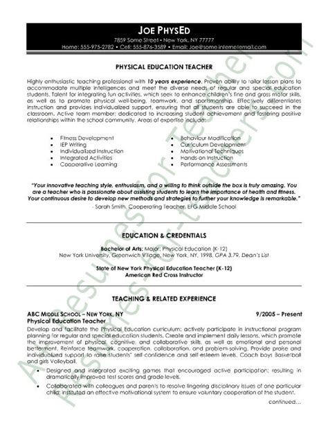 Health Education Resume Sles Physical Education Resume And Education On