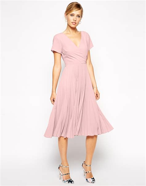 Pleated Midi Skirt Rok Murah Promo asos midi skater dress with pleated skirt and wrap front in pink lyst