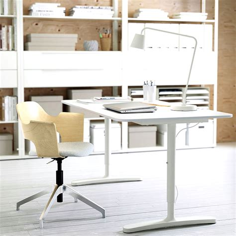 home office desks white ikea bekant desk white in a home office minimalist desk design ideas