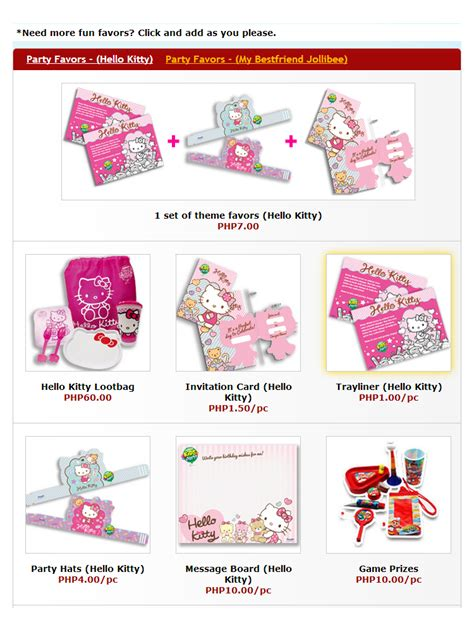 Hello Kitty Party Giveaways Philippines - jollibee hello kitty party theme mommy pehpot
