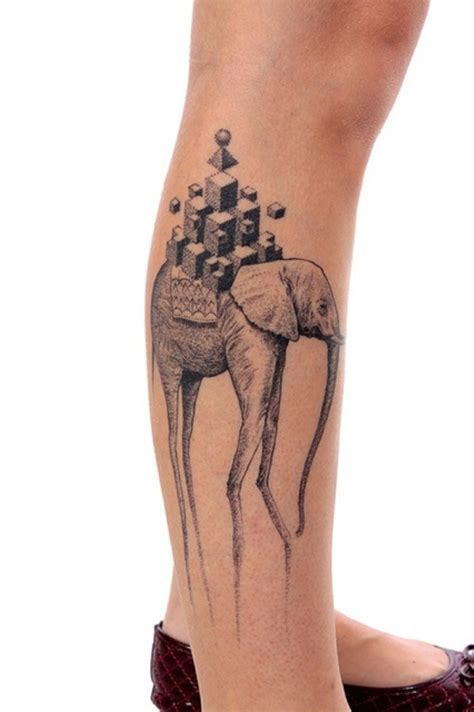 tattoo elephant leg 25 cool dali elephant tattoos